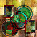 Circles And Squares Triptych Centre by Rosy Hall