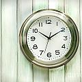 Clock on the wall Print by Sandra Cunningham