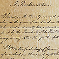 Close-up Of A Copy Of The Emancipation by Todd Gipstein