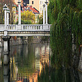 Cobblers Bridge And Morning Reflections In Ljubljana by Greg Matchick