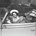 Couple Riding In Old Fashion Convertible Car, (b&w),, Portrait by George Marks