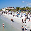 Crowd on a Summer Beach in Ft Meyers Florida Print by ELITE IMAGE photography By Chad McDermott