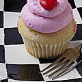 Cupcake With Heart On Checker Plate by Garry Gay