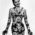 Cyd Charisse Modeling Flowered Evening by Everett