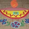 Decorative Earthen Diya Rangoli by Sonali Gangane