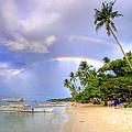 Double Rainbow At The Beach by Yhun Suarez