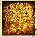 Dragon Painting On Old Paper by Setsiri Silapasuwanchai