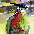 Dragonfly On Flower Bud Watercolor by Ginette Callaway