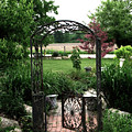 Dreamy French Garden Arbor and Gate Print by Kathy Fornal