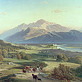 Drover On Horseback With His Cattle In A Mountainous Landscape With Schloss Anif Salzburg And Beyond by Josef Mayburger