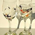 Ducks On Wineglasses by Pauline Ross