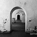 El Morro Fort Barracks Arched Doorways San Juan Puerto Rico Prints Black And White by Shawn O'Brien