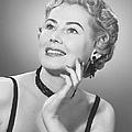 Elegant Woman Posing In Studio, (b&w), Portrait by George Marks