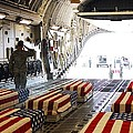 Flag Draped Coffins Of Five Us Soldiers by Everett