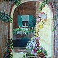 Flowers In Stone Doorway by Jeanene Miller