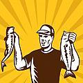 Fly Fisherman holding bass fish catch Print by Aloysius Patrimonio
