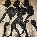 fresco - hunters Print by Michal Boubin