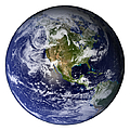 Full Earth Showing North America White by Stocktrek Images