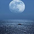Full Moon Rising Over The Sea by Detlev Van Ravenswaay