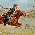 Galloping Horseman Print by Frederic Remington