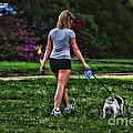 Girl Walking Dog by Paul Ward