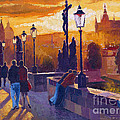 Golden Prague Charles Bridge Sunset by Yuriy  Shevchuk