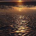 Golden Sunset On The Sand Beach by Setsiri Silapasuwanchai