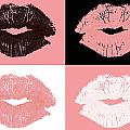 Graphic lipstick kisses Print by Blink Images