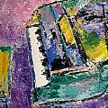 Green Piano Side View Print by Anita Burgermeister