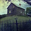 Haunted House On A Hill With Grunge Look by Sandra Cunningham