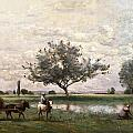 Haycart Beside A River  by Jean Baptiste Camille Corot