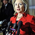 Hillary Clinton Speaking To The Press by Everett