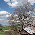 Hillside Weathered Barn Dramatic Spring Sky by John Stephens
