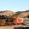 Historic Niles Trains In California . Old Southern Pacific Locomotive And Sante Fe Caboose . 7d10822 by Wingsdomain Art and Photography