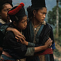 Hmong Girls Cling To Each Other by W.E. Garrett