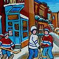 Hockey Game Corner Clark And Fairmount Wilenskys Paintings by Carole Spandau