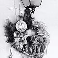 Holiday Basket On Lamp Bw by Linda Phelps