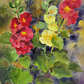 Hollyhocks by Karin  Leonard