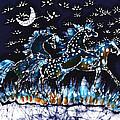 Horses Frolic on a Starlit Night Print by Carol Law Conklin