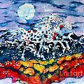 Horses Prance On Flower Field In Summer Moon by Carol Law Conklin