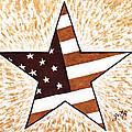Independence Day Star USA Flag coffee painting Print by Georgeta  Blanaru