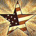 Independence Day Stary American Flag by Georgeta  Blanaru