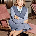 Ingrid Bergman Lounges On Ship Deck by Everett