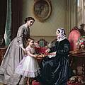 Interior at 'The Chestnuts' Wimbledon Grandmother's birthday Print by J L Dyckmans