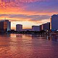 Jacksonville Skyline At Dusk by Debra and Dave Vanderlaan