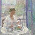 Lady Reading At An Open Window  by Clementine Helene Dufau