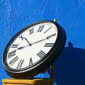 Large Clock On Yellow Chair by Garry Gay