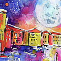 Large Moon Over Venice  by Ginette Callaway