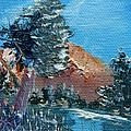 Leaning Pine Tree Landscape Print by Jera Sky