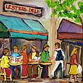 Lester's Deli Montreal Cafe Summer Scene by Carole Spandau